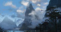 misty mountains by Jason Scheier Landscape Concept, Fantasy Landscape, Landscape Art, Landscape Design, Fantasy Art, Lake Garden, Garden Art, Cd Cover Art, Lake Photography