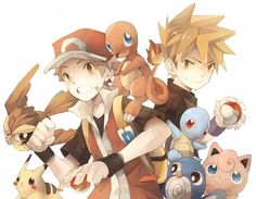 Red and Blue/Green with Pikachu, Pidgey, Charmander, Squirtle, Jigglypuff, and Poliwag