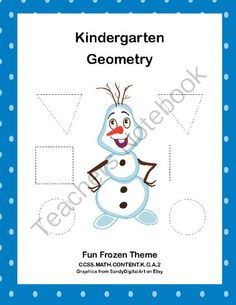 Kindergarten Geometry- Trace and Count the Shapes CCSS.MATH.CONTENT.K.G.A.2 from mccormick33 from mccormick33 on TeachersNotebook.com (11 pages)  - This fun Frozen themed collection of printable worksheets is a great way for your Kindergarten students to practice their geometry. They trace and count the shapes. Circles,rectangles,squares, and tri