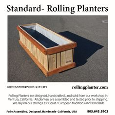 "M26 ( 2 x 6' x 25"") COMMERCIAL QUALITY ""ROLLING PLANTER.""  Grow almost everything in this planter, best for plants that need deep roots, including trees. Fully assembled.  Made from sustainably grown cedar/fir, case hardened and marine epoxy/ glass coated steel screws/ bolts, tri-ply liner and plumbed drains. Designed, handmade and shipped from Ventura, California, USA 805.643.5902  www.rollingplanter.com"
