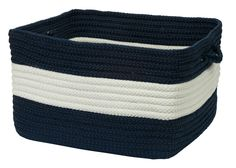 Rope Walk Indoor Outdoor Square Braided Basket, CB99 Navy Blue