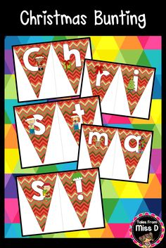 """Celebrate Christmas in your room with this cute bunting banner! Reads """"Merry Christmas!"""" © Tales From Miss D"""