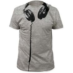 This cool 100% cotton headphones t-shirt is sure to be a hit with dj's, music lovers and hipsters everywere. It features a unique print on the shirt that simulates a pair of headphones around you're n