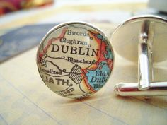 Custom Vintage Dublin Ireland Map Cuff Links 3/4 by SterlingQuest