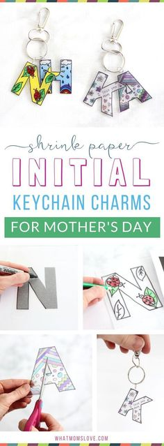 This easy to make Mother's Day craft for kids is the perfect homemade keepsake to give to mom or grandma. Use Shrinky Dinks to create a DIY initial and headshot keychain - they're simple to make but totally unique. Anyone can make them, from toddlers to teens. Makes a great last minute gift from the kids or grandkids for Mother's Day, Father's Day, Grandparents Day, birthdays or Christmas!