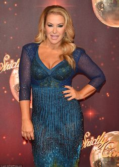 Twinkle toes: Anastacia couldn't hide her excitement as she twirled her way down the red carpet in a form-fitting ensemble at the launch of Strictly Come Dancing 2016 at Elstree Film Studios on Tuesday