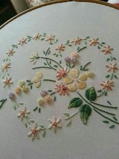 Lovely silk ribbon embroidered heart /khadijaannette/embroidery/ back - 4 LACE Ribbon Embroidery Flowers by Hand - Embroidery Patterns Silk Embroidery Dresses How To Make Silk Ribbon Embroidery Roses stitches and buttons and silk embroidery inspiration SI Embroidery Hearts, Hand Embroidery Stitches, Silk Ribbon Embroidery, Crewel Embroidery, Hand Embroidery Designs, Embroidery Techniques, Vintage Embroidery, Cross Stitch Embroidery, Embroidery Kits