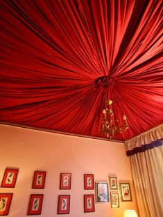 Bohemian Red and Pink Bedroom with Fabric Tented Ceiling Romantic Bedroom Design, Ceiling Decor, Tent Bedroom, Bohemian Living Spaces, Backyard Decor, Bedroom Design, Red Ceiling, Ceiling Design, Fabric Ceiling