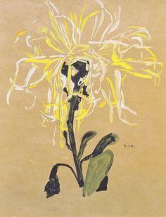 Egon Schiele, Yellow Chrysanthemum / White Chrysanthemum / Red Chrysanthemum, 1910