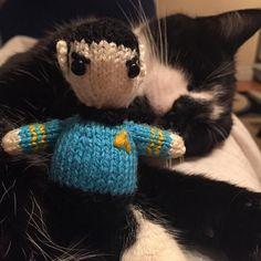 Newest addition to the Ark!!....Spock! #Spock #startrek #leonardnimoy #zacharyquinto #knit #wool #knitting #knittersofinstagram