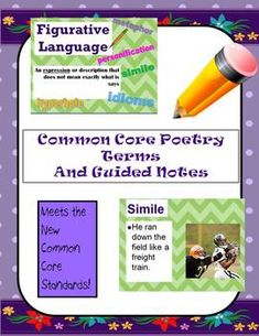 Common Core Poetry Terms and Guided Notes This is a zip file containing a PowerPoint with guided notes on figurative language, sound devices, and other important difficult vocabulary in the new core content students need for studying poetry. You also get a PDF document of guided notes to give to students. They view the slideshow and fill in the blanks. I have also included a Guided Notes KEY for when kids are absent and for you the teacher to tell them what they should have written in ...