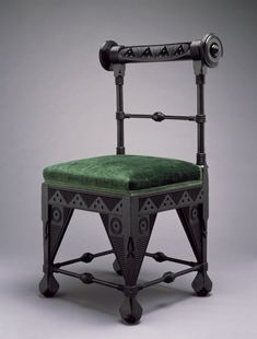 1880 - Side Chair / ebonized cherry wood and velvet / by German-born virtuoso cabinetmaker and furniture artist of the Victorian Era Daniel Pabst