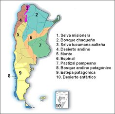 mapa con los biomas de Argentina Argentina Map, Atm Cash, World 2020, It Gets Better, South America Travel, Study Notes, Teaching Spanish, Social Studies, Homeschool