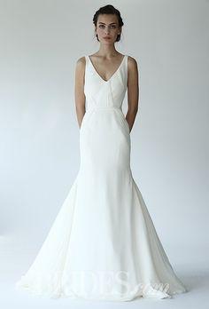 Lela Rose - Fall 2014 - The Castle  Silk Crepe V-Neck Mermaid Wedding Dress with Lace Inserts |