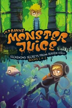 J SERIES MONSTER JUICE. When Chris Taylor starts volunteering at Raven Hill Retirement Home, he has no idea that his duties will include changing mummy wrappings, barfing on command, and battling a swarm of super roaches. And he definately doesn't expect the monster gang to follow him on a school field trip, turning it into a fart-filled underwater nightmare! It's a wild ride, but Chris's journey is only beginning.