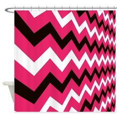 pink and black shower curtain. Fast Lane Pink and Black Shower Curtain Red Chevron  bathroom accessories