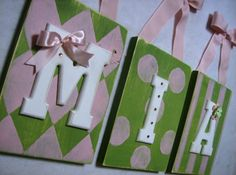 Choose Your Color Hand Painted Nursery Name Sign Plaque - Personalized Name Sign - Hanging Wall Letters -Baby  Kids  Custom Letters