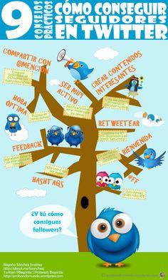 9 Consejos sobre cómo conseguir seguidores en Twitter #RedesSociales #infografia