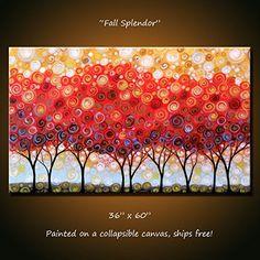 "Art Original Extra Large Modern Trees Painting Wall Décor Landscape ... 36"" x 60"" ... ""Fall Splendor"""
