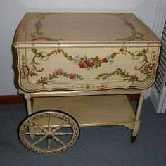 painted tea carts | Vintage 1950s - 60s Painted TEA CART or TEA WAGON w/ Drop Sides