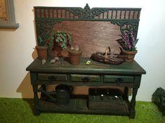 Table miniature rempotage plantes maison de poupées échelle 1:12