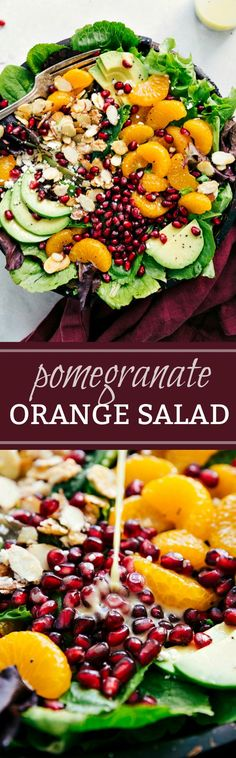 This delicious orange pomegranate salad is topped with mandarin oranges, pomegranate arils, candied almonds, sliced avocado, and feta cheese.