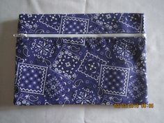 "8"" Cosmetic Bag / Make Up Bag / Pencil Pouch - Purple Bandana by ShawnasSpecialties on Etsy"