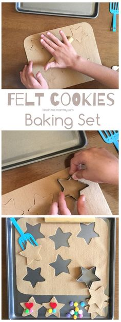 Make a batch of these sweet felt cookies with your little bakers! A sweet way to work on fine motor skills, counting or just enjoying pretend play during quiet time. Toddler Preschool, Toddler Crafts, Preschool Activities, Crafts For Kids, Preschool Cooking, Preschool Centers, Preschool Class, Everyday Activities, Preschool Curriculum