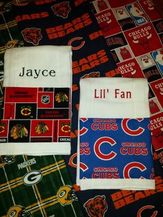 Baby Burp Cloths Chicago CUBS BLACKHAWKS Bulls Bears or Green Bay PACKERS Fabric Trim PeRsoNaLiZeD Baby Shower Gifts! Designs by Sugarbear