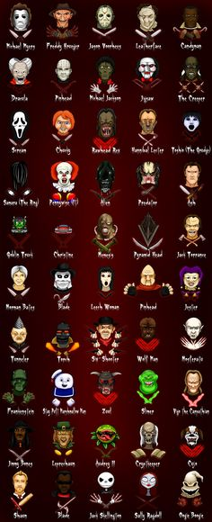 Horror Characters... But nightmare before christmas isn't horror... Or alien.. Or predator..