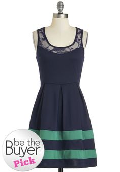 Regatta Gala Dress - Sheer, Short, Blue, Green, Solid, Lace, Pleats, Party, A-line, Sleeveless, Exclusives, Scoop