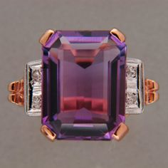 Not mad about the pink gold but like the design$1750 http://cgi.ebay.com/RETRO-ART-DECO-13CT-AMETHYST-14K-PINK-GOLD-RING-/370478663263?pt=US_Fine_Rings&hash=item56423fc65f