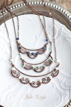 Necklaces by Sabina G. Copper Jewelry, Wire Jewelry, Pendant Jewelry, Jewelry Art, Beaded Jewelry, Handmade Jewelry, Jewelry Design, Copper Wire, Copper Bracelet