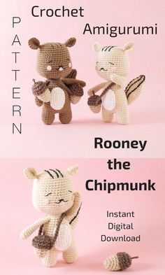 Rooney the Chipmunk is an adorable crochet animal that you can create by using this pattern. He loves his acorns so make sure you create a lot of those too! This is an Instant Digital Download pattern so you can start gathering your supplies to make this little chipmunk right away! #crochet #crochetdoll #amigurumi #ad #amigurumidoll #chipmunk #acorn #instantdownload