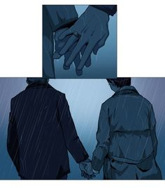 Destiel in the rain.