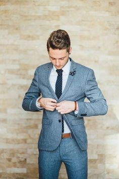 Stylish groom with black earrings in this relaxed rustic johannesburg wedding - yeah yeah photography Rustic Wedding Suit, Blue Suit Wedding, Wedding Men, Wedding Groom, Men Wedding Attire, Rustic Groom, Mens Wedding Style, Best Wedding Suits For Men, Groom Attire Rustic