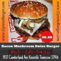 Bacon Mushroom Swiss Burger Two never-frozen 100% Angus beef patties, Texas smoked bacon, fresh sauteed mushrooms, premium Swiss cheese and mayo on a butter-toasted sesame roll. ************************************************* Order Online Now ➡️    www.GyreneBurger.com  #burger #knoxville #burgers #fortsanders #tennessee #cumberland #Gyrene #LocalKnoxvilleEvent  #knoxvillebestburger #gyreneburgerkx #gyreneburger #burgerrestaurant #knoxvilleburgerrestaurant #knoxvilleburger…