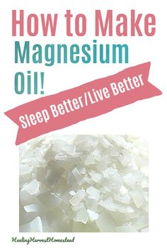 How to make magnesium oil spray. This recipe is amazing, will save you a lot of money, and will help you in so many ways. Most people are deficient in magnesium, yet it's necessary for over 300 bodily processes. It can even help you get healthy sleep. It's pricey to buy…but you can make your own. Find out how! #magnesium #oil #spray #deficiency #symptoms #citrate #recipe #oilspray #healingharvesthomestead #wellness Healthy Sleep, How To Stay Healthy, Healthy Eating, Natural Beauty Remedies, Herbal Remedies, Essential Oil Diffuser Blends, Essential Oils, Herbs For Health, Health Tips