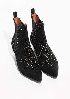& Other Stories Studded Western Chelsea Suede Boots in Black