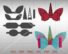 Accessories diy Unicorn Bow SVG, DIY Bow Cut File, Leather Hair Accessories Making Vector DXF Template Silhouette Cricut Cut File Commercial Use Making Hair Bows, Diy Hair Bows, Ribbon Hair, Handmade Hair Bows, Password Organizer, Diy 3d, Bow Template, Templates, Cricut
