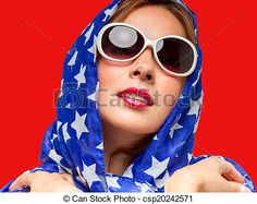 Stock Photo - Female in American Colors - stock image, images, royalty free photo, stock photos, stock photograph, stock photographs, picture, pictures, graphic, graphics