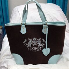 "Juicy Couture Brown & Turquoise Zip Tote One of the Original Sturdy Terry Cloth Juicy totes, super clean can use for all seasons!! Measures 14"" height, 19"" across, 8"" wide Juicy Couture Bags Totes"