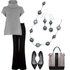 """""""Shell base pearl and Faceted black crystal"""" by simplybechic on Polyvore"""