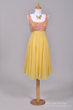 1960's Encrusted Yellow Silk Chiffon Vintage Party Dress : Mill Crest Vintage