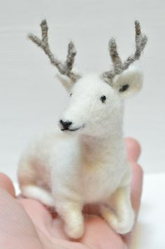 Little White Deer  needle felted ornament animal by feltingdreams,