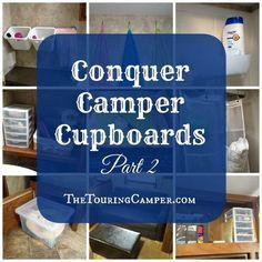 Products and ideas for space-saving camper organization: Staying organized and space-saving strategies are key when living in small spaces. Conquer your camper cupboards with these great ideas and products! check posts at bottom, too! Organisation En Camping, Camping Organization, Travel Trailer Organization, Organization Ideas, Trailer Storage, Camper Storage, Storage Hacks, Caravan Storage Ideas Space Saving, Storage Ideas For Campers