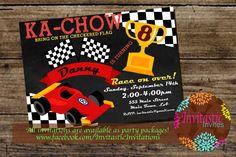 Race Car Birthday Party Invitations  by InvitasticInvites on Etsy, $10.00