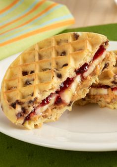 Peanut Butter and Jelly Waffle Sandwiches are a special twist on the favorite PB&J recipe!