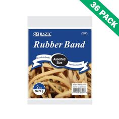 Strong Rubber Bands, Bazic Elastic Rubber Band Sizes Assorted - Case Of 36