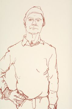 """At home in East Hampton, the Dean and DeLuca co-founder Jack Ceglic invites people to sit for him as he sketches them with a red oil pastel stick. A series of his portraits will be on view this week in Amagansett, a selection of which he shares here, beginning with this self-portrait. """"I look relaxed, intense and confident, which I am not,"""" he says."""